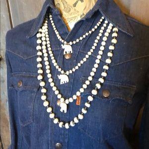 Vintage 80s elephant 4 strand bone bead necklace
